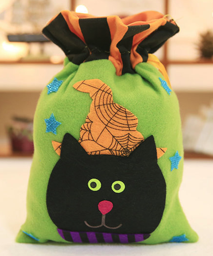 Halloween Decoration Candy Gift Bag Pumpkin Witch Bunching Non-woven Tote Bag