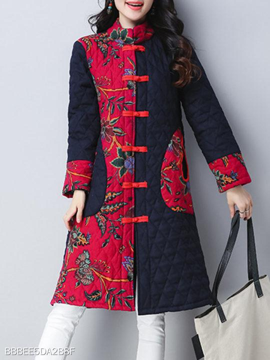 Band Collar Patchwork Floral Coat