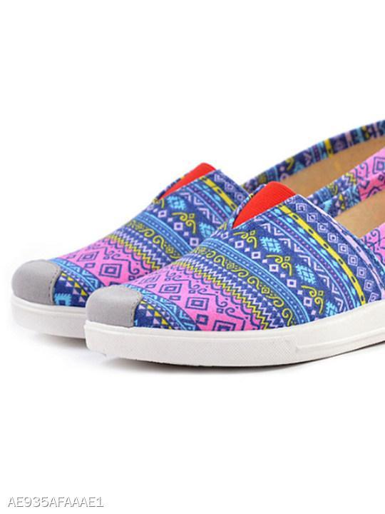 Tribal Printed Flat Cotton Round Toe Casual Comfort Flats