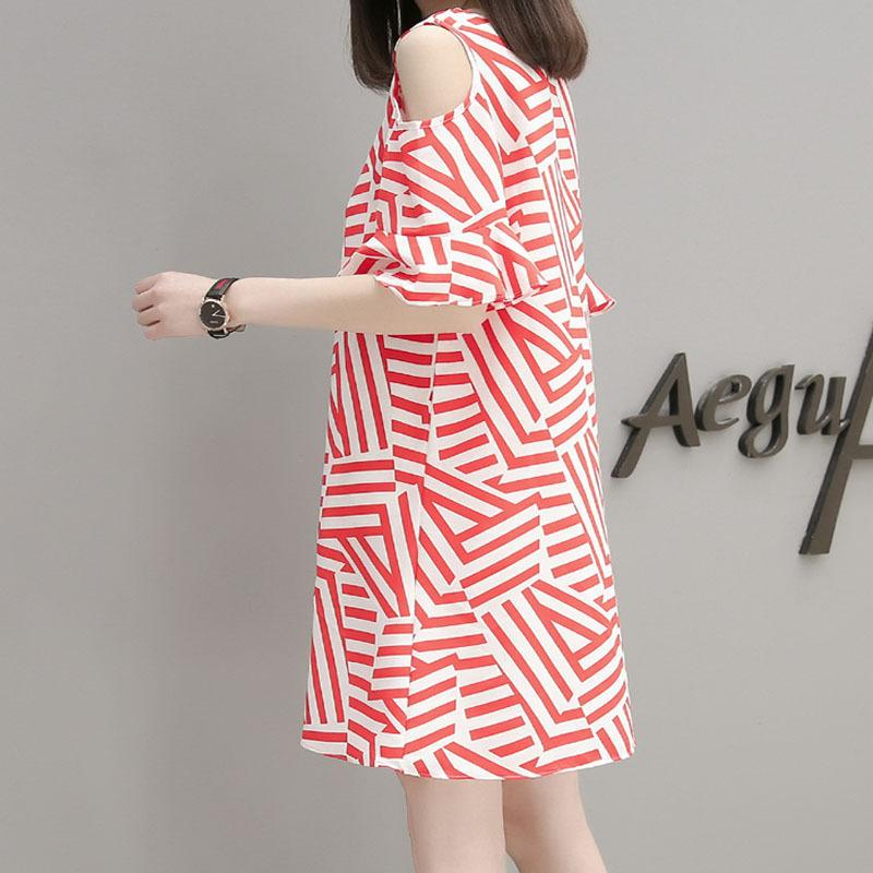 Women Daily Cold Shoulder Striped Dress