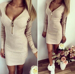 Women Dresses Bodycon Cocktail Sexy Acrylic Zipper Dresses