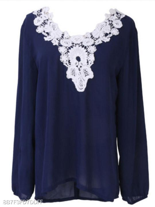 V Neck Loose Fitting Lace Blouses