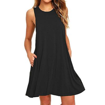 Women A-line Daytime Sleeveless Casual Cotton-blend Solid Dress