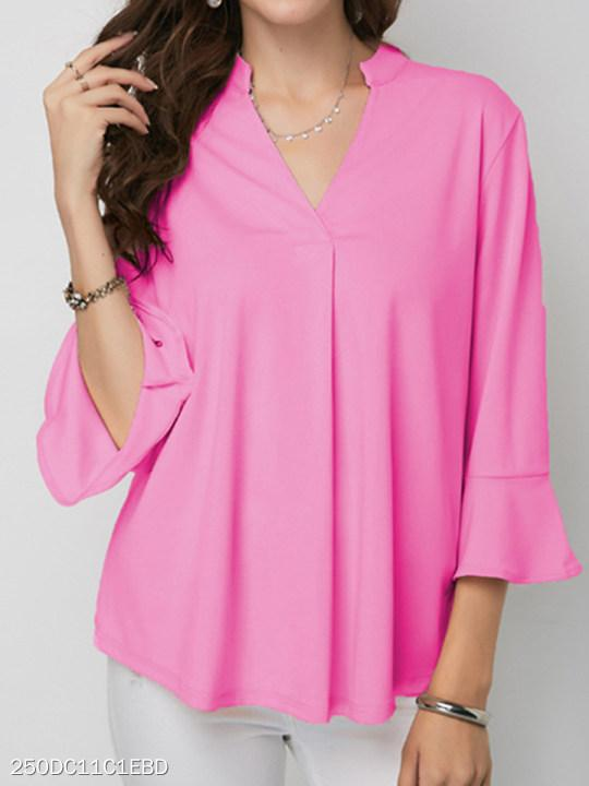 V Neck Loose Fitting Plain Petal Sleeve Blouses