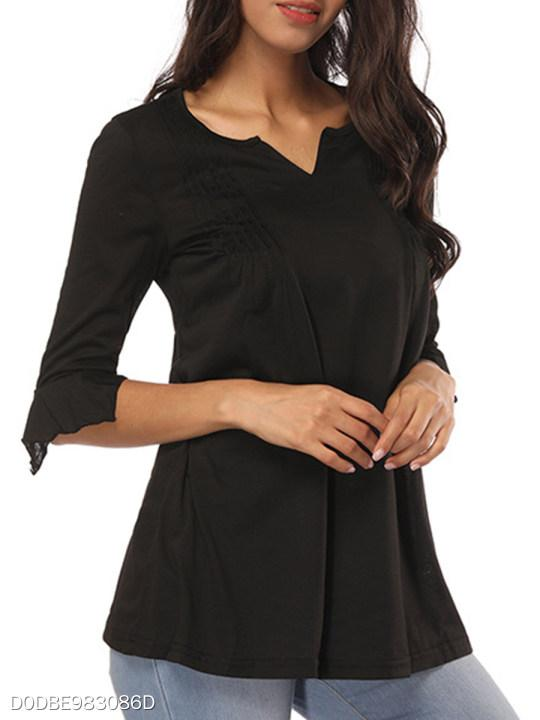 V Neck Ruched Plain Petal Sleeve Long Sleeve T-Shirts