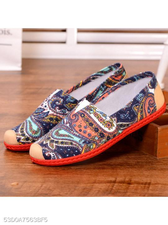 Paisley Flat Cotton Round Toe Casual Flat & Loafers