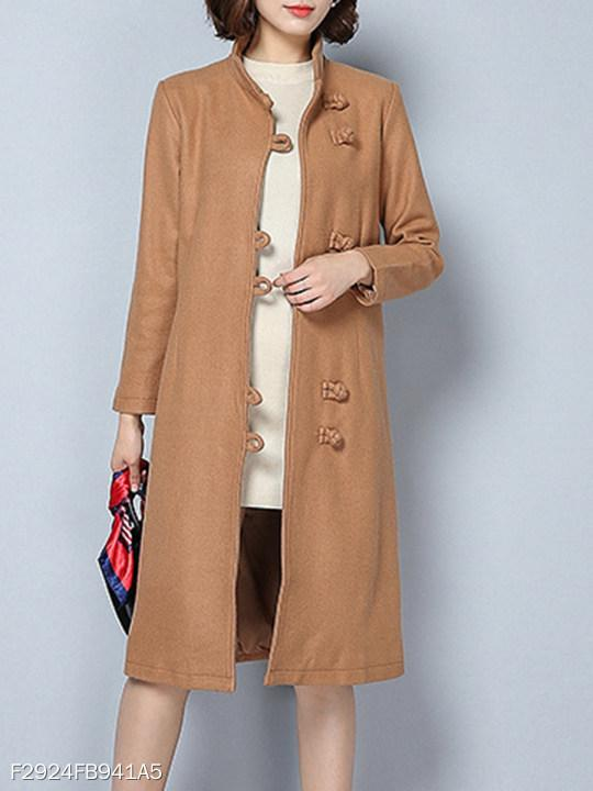 Band Collar Decorative Buttons Plain Coat
