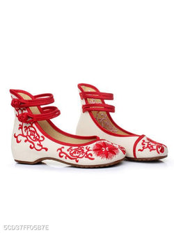 Embroidery Ankle-Strap Hidden Heel Pumps