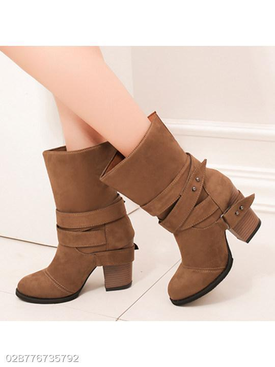 Plain Chunky High Heeled Round Toe Casual Date Outdoor High Heels Boots