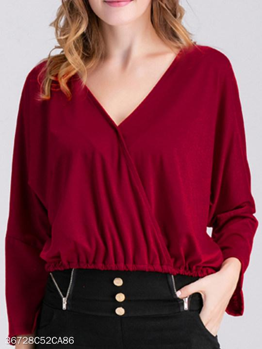 V Neck Loose Fitting Plain Lantern Sleeve Long Sleeve T-Shirts