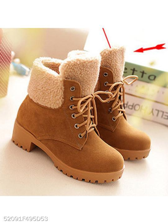 Plain Low Heeled Velvet Criss Cross Round Toe Casual Date Outdoor Flat Boots