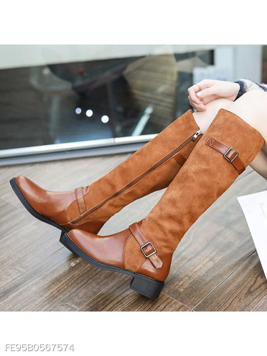 Plain Flat Round Toe Casual Outdoor Knee High Flat Boots