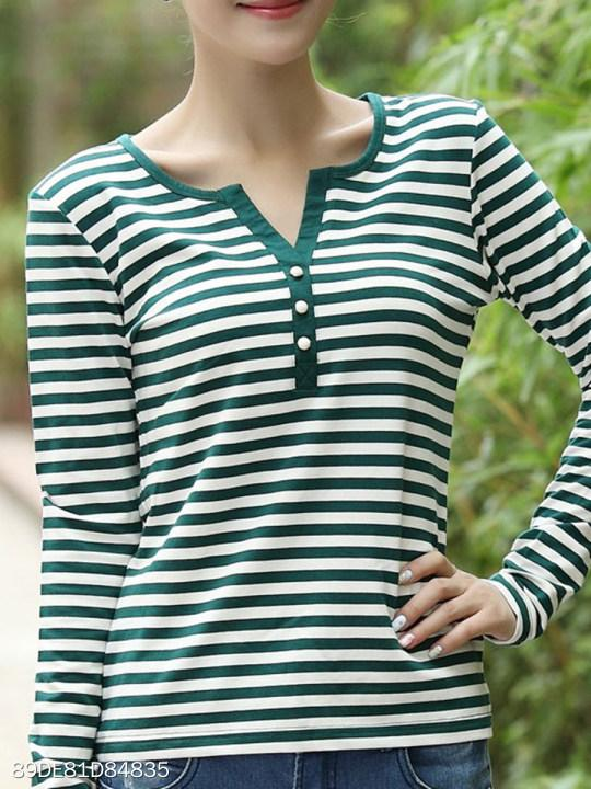 V Neck Single Breasted Stripes Long Sleeve T-Shirts