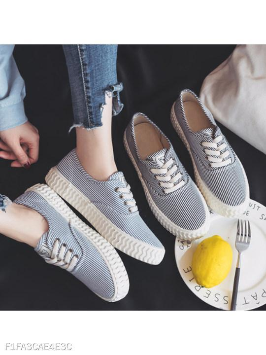 Striped Flat Criss Cross Round Toe Casual Sport Sneakers