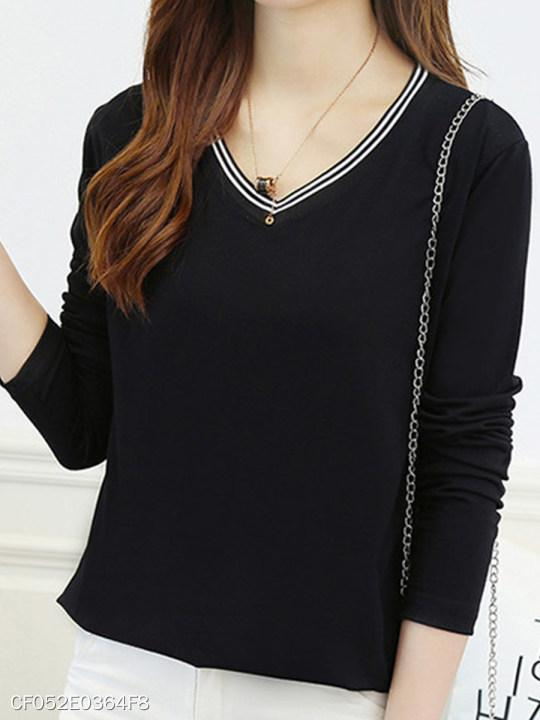 V Neck Loose Fitting Stripes Long Sleeve T-Shirts