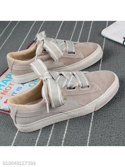 Plain Flat Velvet Criss Cross Round Toe Casual Sport Sneakers