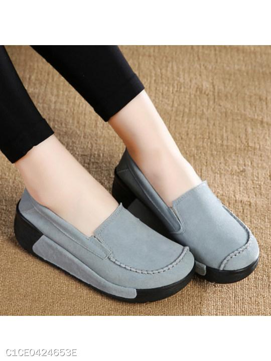Ankle Strap Round Toe Genuine Leather Flat&Loafers