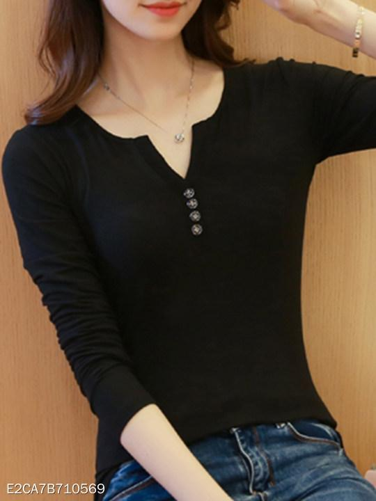 V Neck Single Breasted Plain Long Sleeve T-Shirts