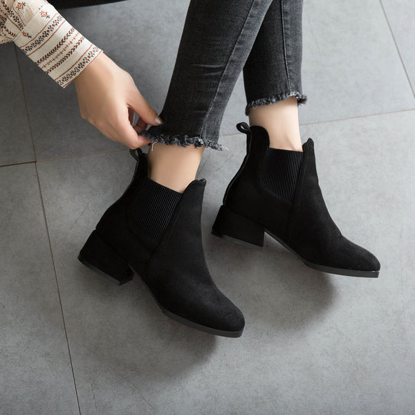 Black Ankle Boots for Women Thick Heel Slip on Ladies Shoes