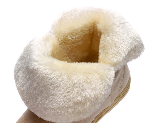 Snow Boots Winter Ankle Boots Warmer Plush Bowtie Fur Suede Rubber Flat Slip