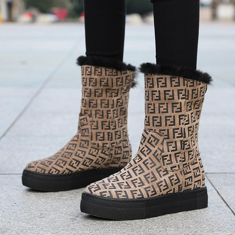 fashion Leopard letters mid-calf women snow boots