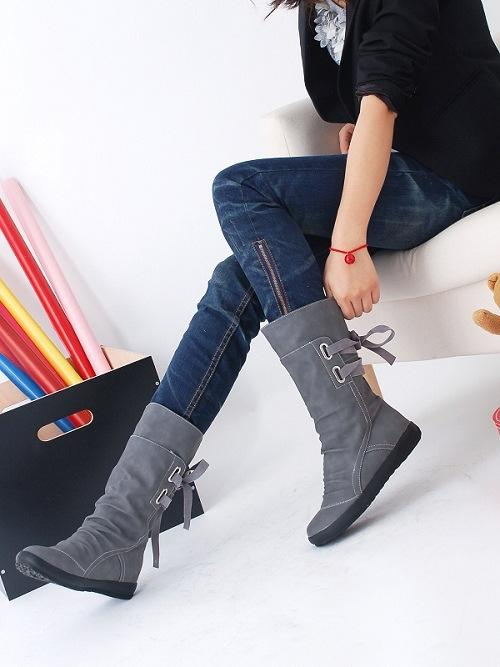 Women Fashion Boots Autumn Shoes with Lace-up Mid-Calf Solid Low Heels