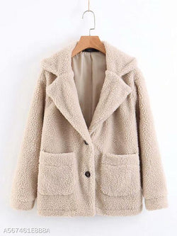 Notch Lapel Patch Pocket Plain Coat