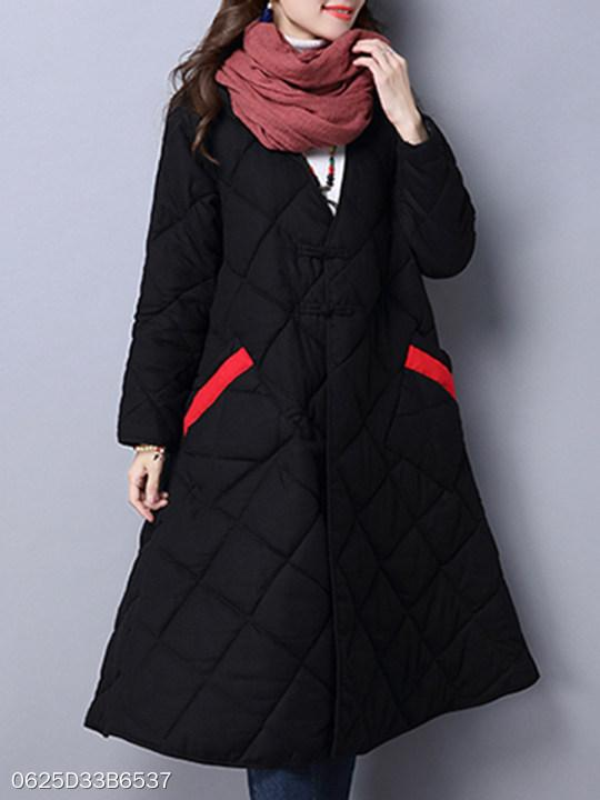 Deep V Neck Quilted Plain Coat