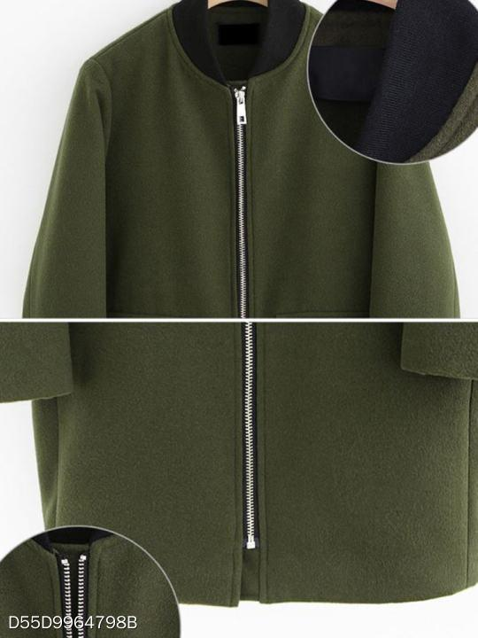 Band Collar Zipper Plain Coat