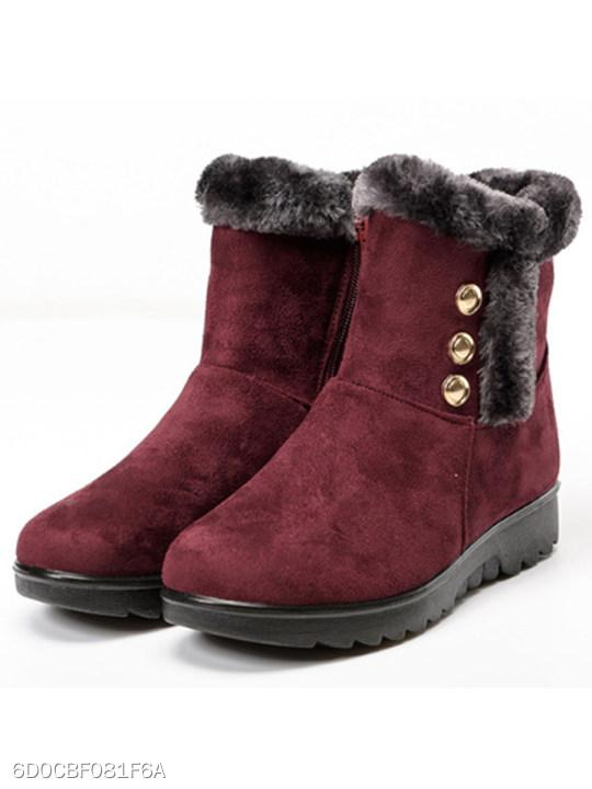 Plain Low Heeled Velvet Round Toe Date Outdoor Short Flat Boots