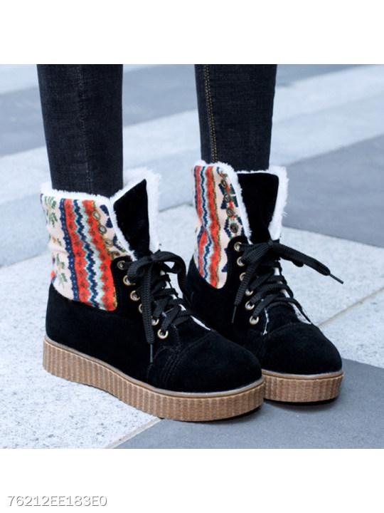 Flat Velvet Criss Cross Round Toe Date Outdoor Short Flat Boots