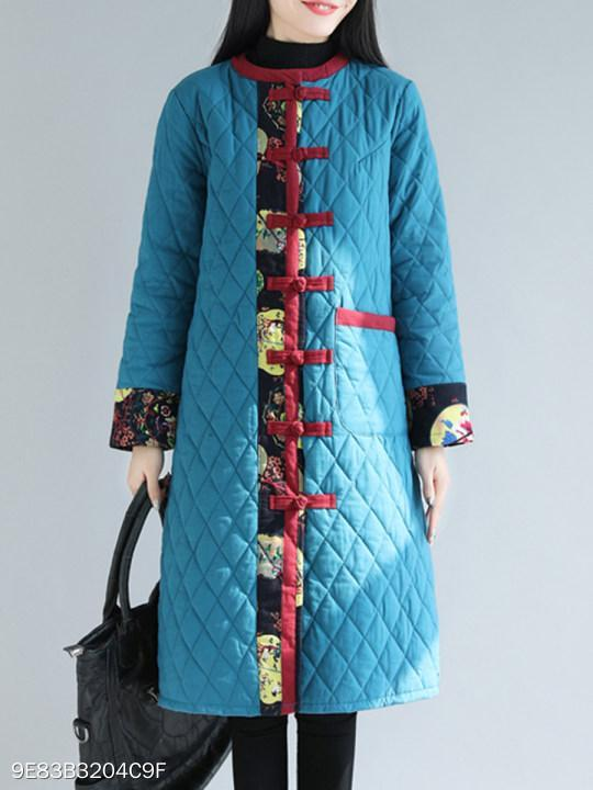 Collarless Single Breasted Patchwork Coat