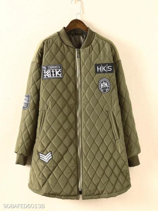 Band Collar Quilted Letters Coat