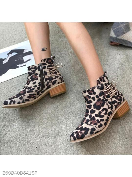 Animal Printed Round Toe Date Outdoor Short High Heels Boots