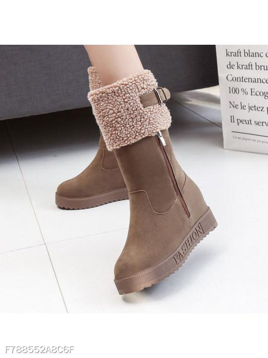 Plain Invisible High Heeled Velvet Round Toe Date Outdoor Mid Calf Flat Boots