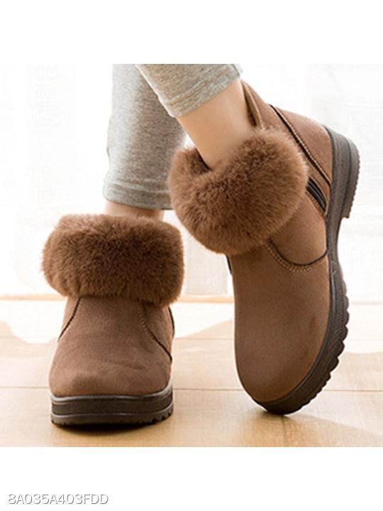 Plain Velvet Round Toe Casual Outdoor Short Flat Boots