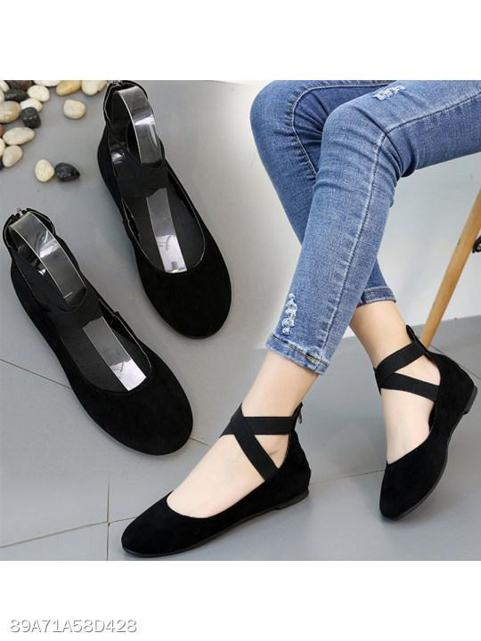 Animal Printed Plain Flat Velvet Round Toe Date Outdoor Flat & Loafers