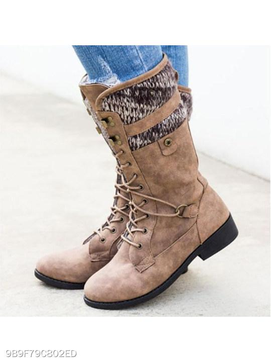 Plain Flat Round Toe Casual Date Mid Calf High Heels Boots