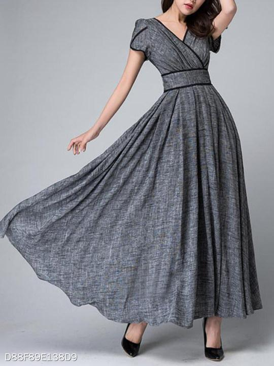 V-Neck Contrast Trim Plain Maxi Dress