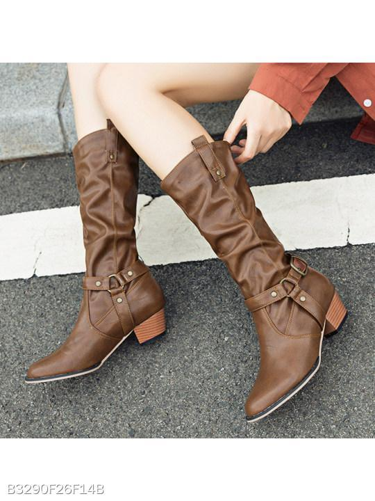 Plain Chunky Low Heeled Round Toe Date Outdoor Mid Calf Flat Boots