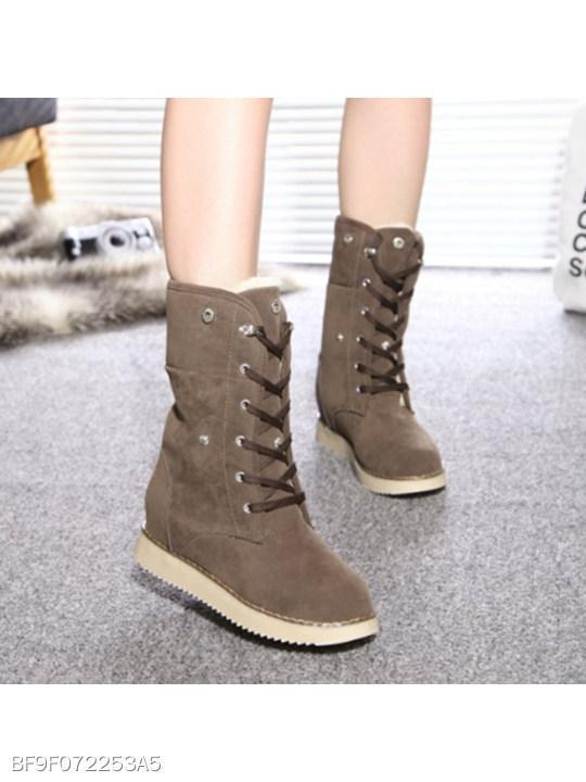 Plain Flat Velvet Criss Cross Round Toe Date Outdoor Short Flat Boots