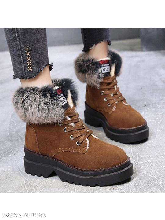 Plain Low Heeled Velvet Round Toe Casual Date Short High Heels Boots