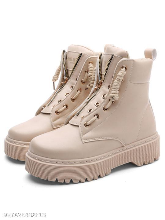 Plain Low Heeled Criss Cross Round Toe Casual Outdoor Short Flat Boots