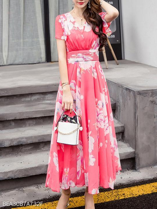V-Neck Ruffle Sleeve Floral Hollow Out Chiffon Maxi Dress