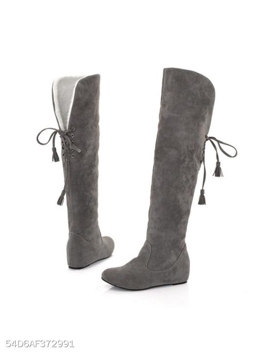 Plain Flat Velvet Round Toe Date Outdoor Thigh High Flat Boots