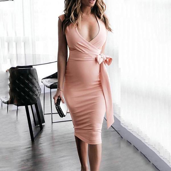 Maternity V-Neck Side Bow Knee-Length Elegant Dress
