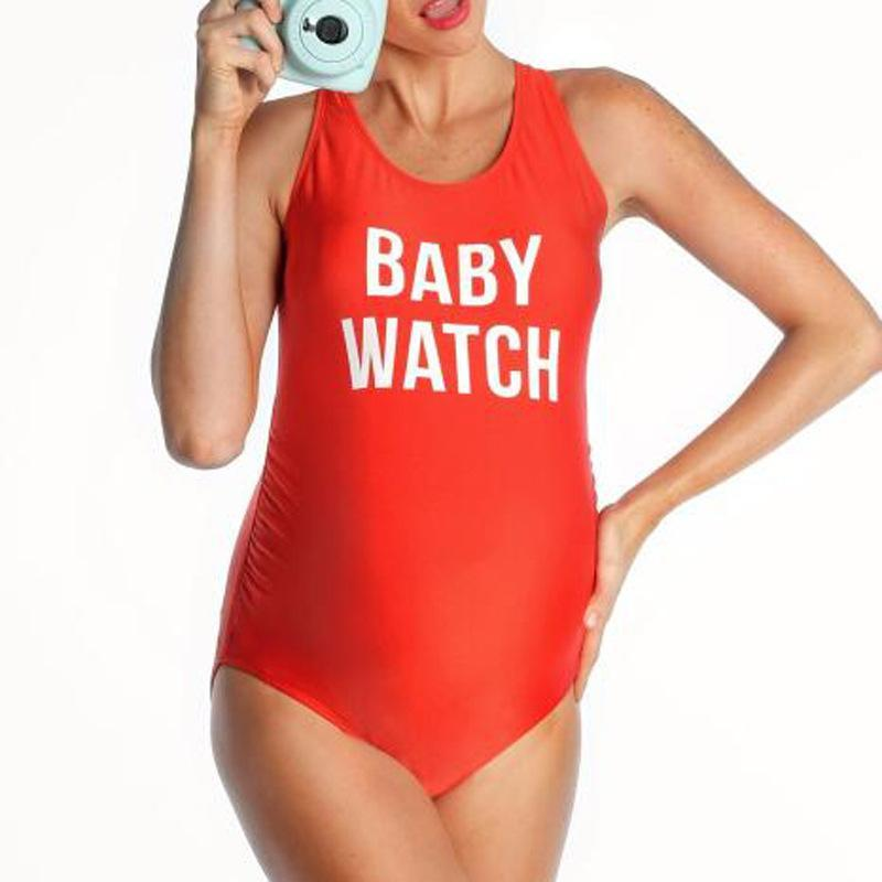 Maternity Women Family Letter Print Vest Body Suit One-Piece Swimsuit