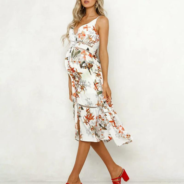 Maternity V-Neck Hollow Sling Strap Plant Printing Daily Dress
