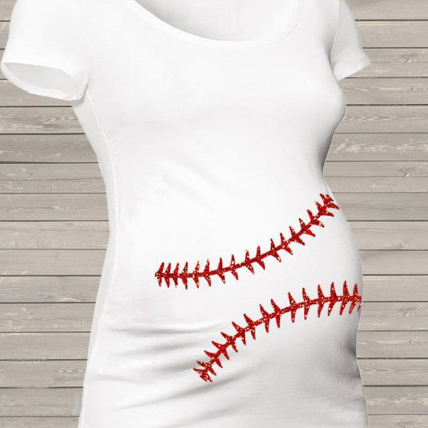 Maternity White Softball Top