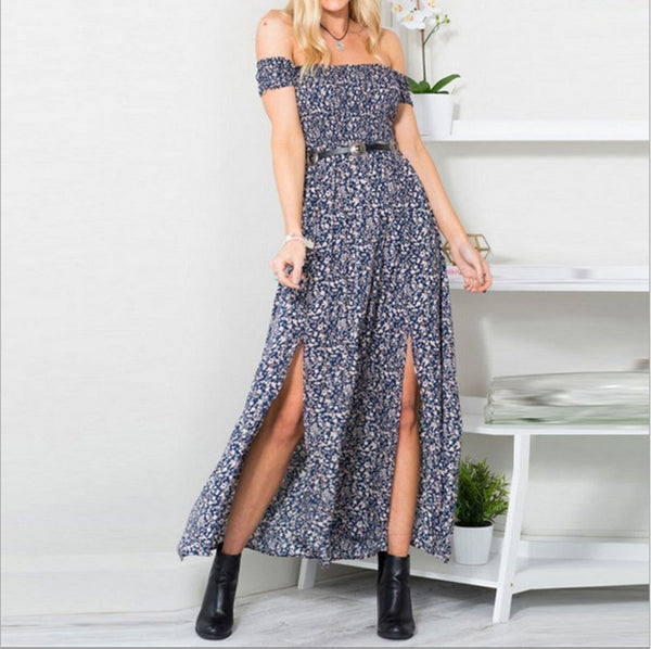 Cutaway Collar Floral Printed Split Expansion Vacation Dress
